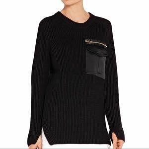 Rag & Bone Greer Satin Trim Black Tunic Sweater